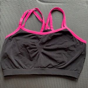 Pink/Black fruit of the loom sports bra.
